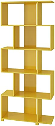 BRV Moveis Decorative Shelf with Five Shelves, Yellow - H 184 cm x W 78.5 cm x D 31 cm, MDP