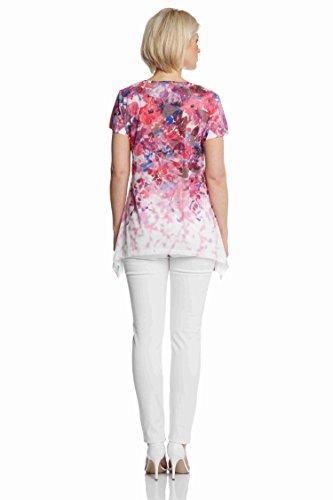 Roman Originals Damen Blumenmuster Burnout T-Shirt Fuchsia Pink Sommer Sommerurlaub lassig Alltag hubsch Rosa