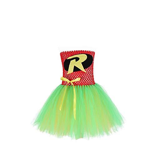 ZONA Elegent Kleine Prinzessin Tanz Kostüm Rohr Kleider Für Kleinkind Mädchen Knielangen Urlaub Sweet Party Tüll Patchwork Schwarz Grün Bezaubernd (Color : Green, Size : S) (Zwei Stück Lyrischer Tanz Kostüme)