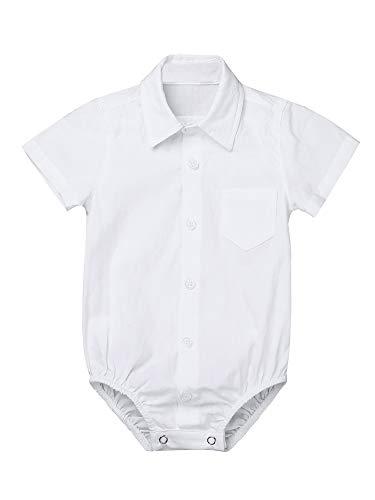 Party Kragen (iEFiEL Baby Jungen Kurzarmbody mit Kragen Baumwolle Hemd-Body Shirt Festliche Kleidung Gentleman Outfits Taufe Hochzeit Party Weiß 92)