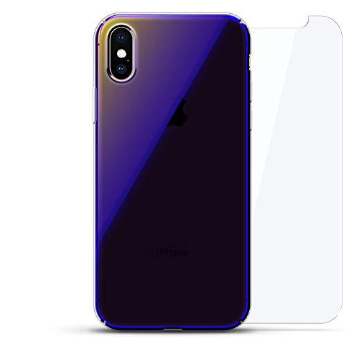 eries 360 Bundle: Transparente ultradünne Silikonhülle + gehärtetes Glas für iPhone XS Max (6,5 Zoll), Funny: Spooky Bloody Hand Print Mark Halloween, Blau (Dusk Blue) ()