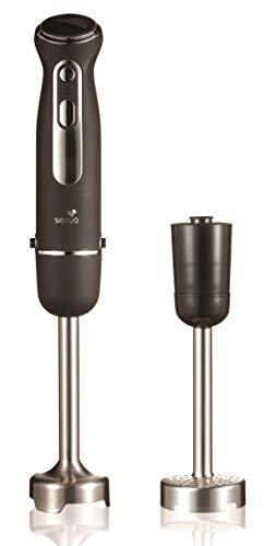 Senya Plongeant avec Pied Presse purée INOX et mixeur Soupe 600W Finition Soft Touch, SYCP-M046, Acier Inoxydable, Noir