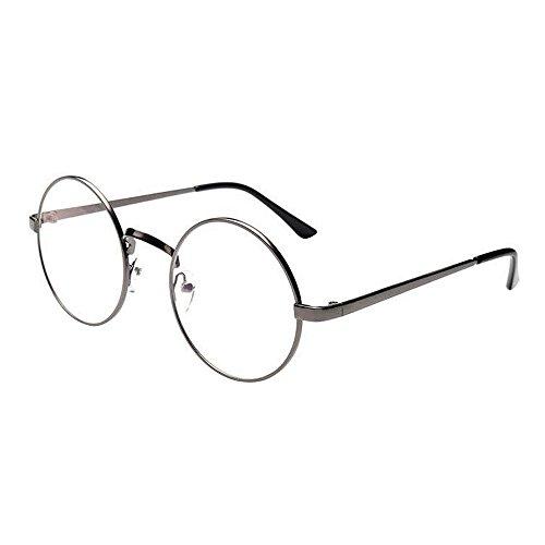 WooCo Retro runde Brille für Damen Herren, Heißer Verkauf Verspiegelte Flachlinse Fashion Classic Unisex Metallrahmen Schwarz, Silber, Grün, Gold, Kaffee(Grün,One size)