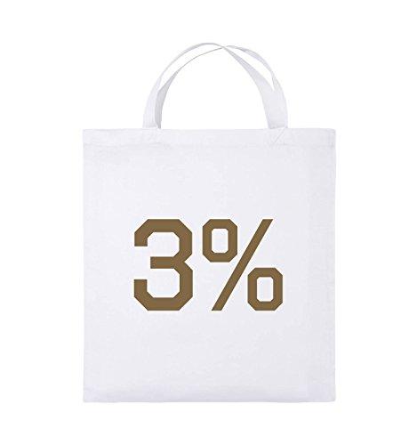 Comedy Bags - 3% - LOGO - Jutebeutel - kurze Henkel - 38x42cm - Farbe: Schwarz / Silber Weiss / Hellbraun