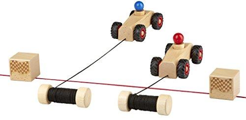 rewoodo Ribble Race - Autorennen Rennspiel 2 Spieler Modernes Spielzeug Auto Kinder 3 Jahre Junge Mädchen Fädelspiel Holzspielzeug Holzauto