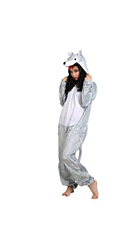 Costumi animali per adulti Unisex Pigiama Fancy Dress Outfit Cosplay Onesies (Lupo)