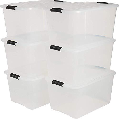 IRIS, 6er-Set stapelbare Aufbewahrungsboxen \'Top Box\', mit Deckel und Klickverschluss, 45 Liter, Kunststoff / Plastik, transparent