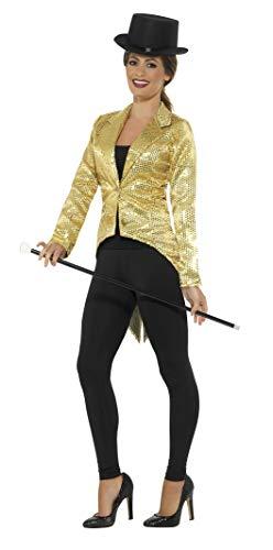 Smiffys Damen Pailletten Frack Jacke, Größe: 36-38, Gold, 21229