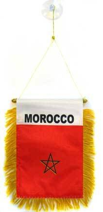 AZ FLAG Fanion Maroc 15x10cm - Mini Drapeau marocain 10 x 15 cm spécial Voiture - Bannière