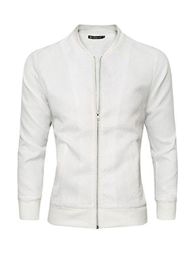 Allegra K Hommes À Motifs Losanges Design Col Remontant Fermeture À Glissière Veste Blanc