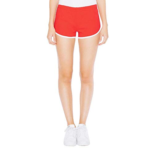 American Apparel Damen Interlock Running Shorts/Red/White, XS (American Apparel Running Shorts)