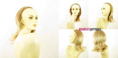 Demi-tête, demi-perruque mi-longue lisse 40 cm blond clair cuivré méché blond clair ref 018 en 27t613
