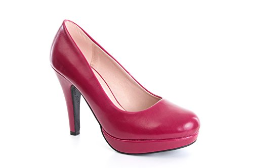 Andres Machado.AM554.Peep-Toes Vernis.Pour Femmes.Grandes Pointures . Magenta