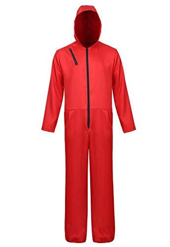 aizen Haus des Geldes Kostüm Overall mit Dali Maske Kostüme Jumpsuit Halloween Cosplay Rot s