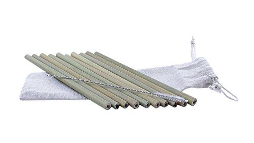 bmtick 's Bio natürlichen Holz Bambus Trinkhalme (19cm) (mit Jute Tragetasche + Reinigungsbürste) (10Stück.)