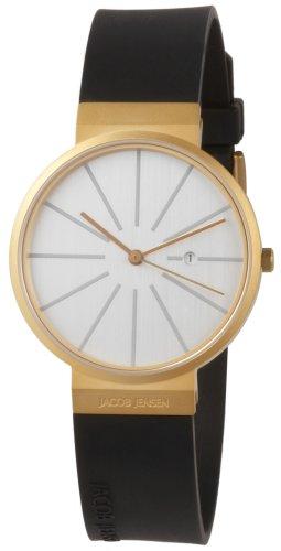 "Jacob Jensen ""Titanium Series 684"" – Reloj de caballero de cuarzo, correa de goma color negro"