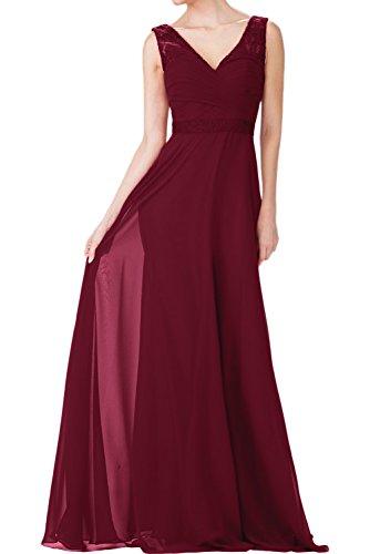 Charmant Damen Burgundy Chiffon langes Abendkleider mit Spitze ballkleider Brautjungfernkleider Abschlussballkleider Burgundy