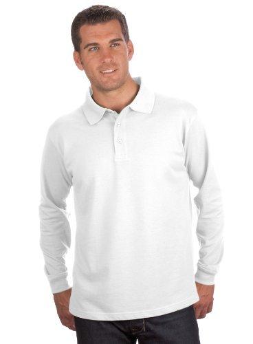 QUALITYSHIRTS Langarm Polo Shirt, Gr. 8XL, weiß