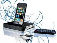 Auvisio 2in1 Stereo-Lautsprecher (Dock, Ladegerät) für Apple iPod/iPhone schwarz