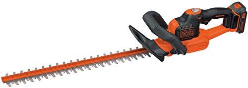 Black+Decker 18V 4.0Ah Akku-Heckenschere, Antiblockierfunktion, inkl. Schnellladegerät, 50cm Schwertlänge, 18mm Schnittstärke, GTC18504PC, schwarz orange
