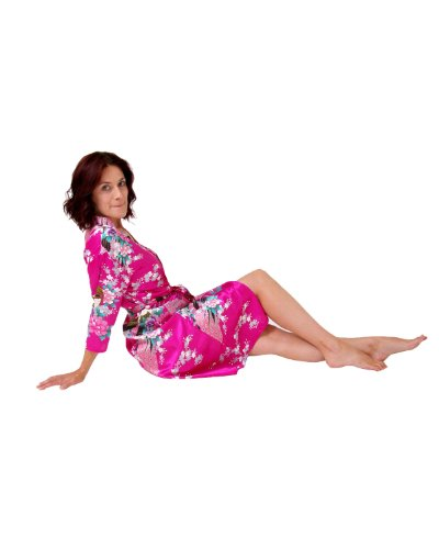 Robe de satin dressing Magenta