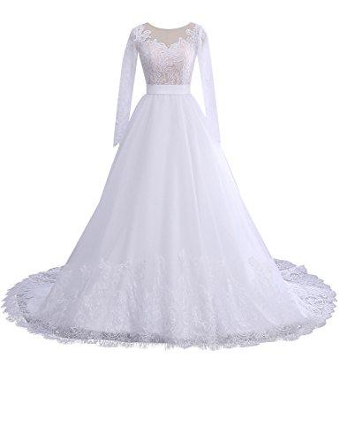 Erosebridal Damen Hochzeitskleider A Linie Elegant Lange Ärmel Spitze Brautkleid Weiß DE46