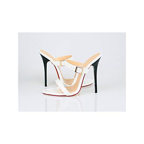 Damen Pantolette Plateau Stiletto Schnalle mit hohen Absätzen-13CM Weiß