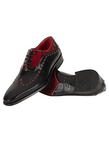 Jeffery West Homme Chaussures poli Stitched, Noir Noir