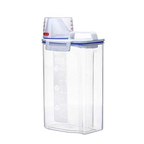 Ceepko Reisbehälter, Aufbewahrungsbehälter, Frischhaltedosen, Reiszylinder mit Ausgießer, Messbecher mit verschließbarem Deckel, Kunststoff-Körner-Aufbewahrungsbox für die Küche