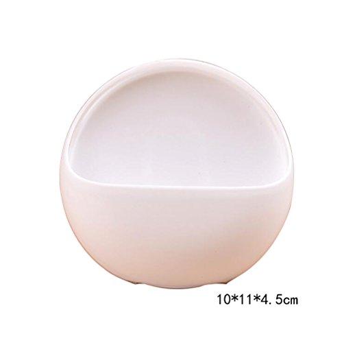 Lumanuby 1 Stück Seifenschalen Halter ABS Material Regal Kreativ Saugnapf Halbkugelförmig Design Soap Holder Einfache Oberfläche Kein Muster mit Boden Drain Lücke 10*11*4.5cm Weiss Farbe - Abs-drain