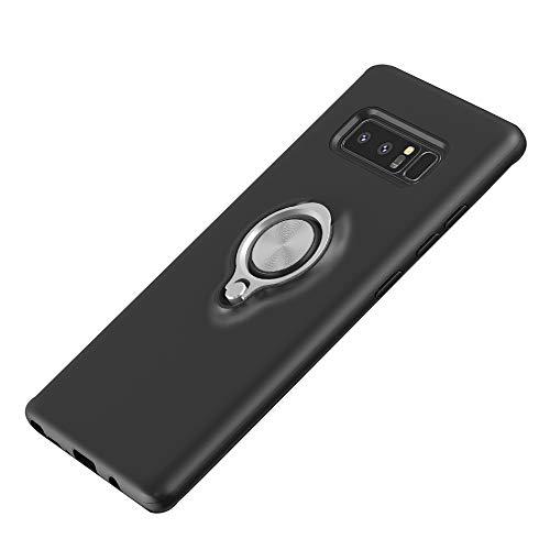 ANERNAI kompatible Samsung Galaxy Note 8 Hülle, dünn, hart, stoßfest, langlebig, Ring mit magnetischem Ständer, Samsung Galaxy Note 8, schwarz Sherpa-taste