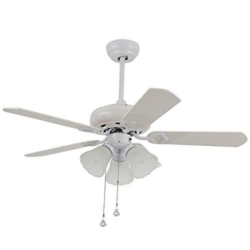 SEEKSUNG Deckenventilator Light Fan Light Kronleuchter Holzblatt Modern  Home Retro Restaurant Wohnzimmer Industrial Ceiling Fan [Energieklasse A +  +]