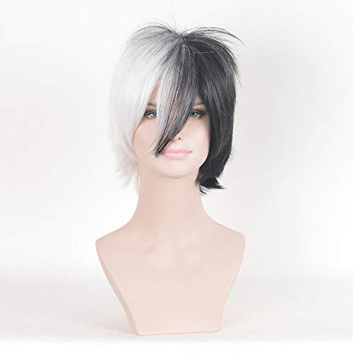 Xthy parrucca da uomo capelli corti scompigliati e arruffati, giovanile, alla moda parrucca maschio parrucca a due colori orso bianco e nero soffice