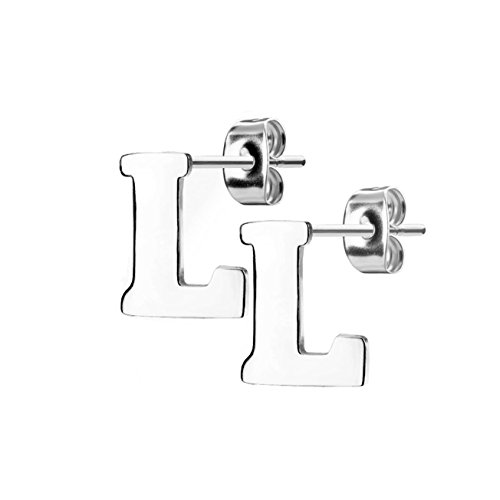 beyoutifulthings 1 Paar Ohr-stecker BUCHSTABE L INITIALEN Ohringe Ohr-ringe Schmuck Set Edelstahl Silber (Buchstabe Herren-ring L)