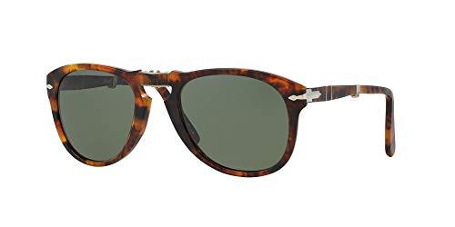 Persol Unisex PO0714 Sonnenbrille, Braun (Gestell: havana, Gläser: grün polarisiert 108/58), Medium (52)