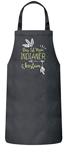 ShirtStreet lustige Karneval Gruppen Paar Verkleidung Frauen Herren Barbecue Baumwoll Grillschürze Kochschürze Fasching - Indianer Kostüm, Größe: onesize,Dark Grey