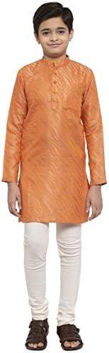 NEUDIS by Dhrohar Silk Blend Long Kurta & Churidar Pajama Set For Boys - Or