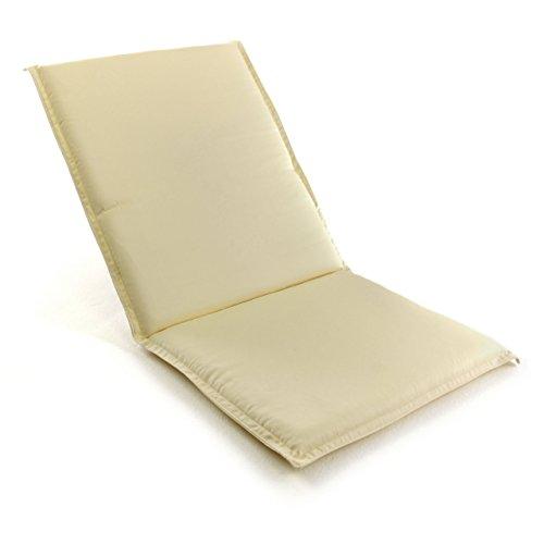 Nexos GL06060 Divero Sitz-Auflage Polster Hochlehner Garten für Klappstuhl Teak mit Armlehne Creme,