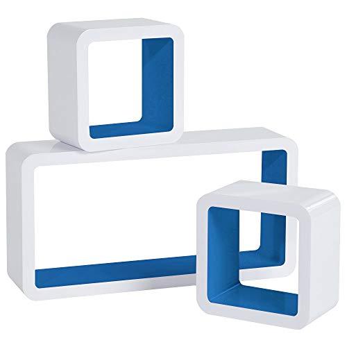 WOLTU RG9229dbl Mensole da Muro Mensola a Cubo Scaffale Parete Libreria CD Legno MDF Moderno 3 Pezzi Diametro Diverso Blu Scuro-Bianco