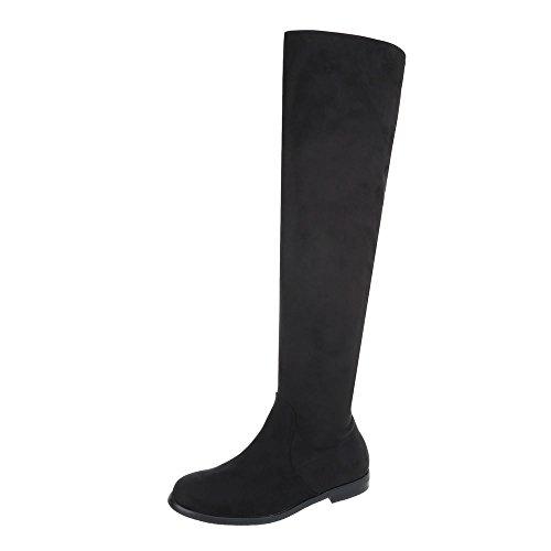 Ital-Design Overknees Damen-Schuhe Overknees Blockabsatz Blockabsatz Reißverschluss Stiefel Schwarz, Gr 39, 887-Pg-