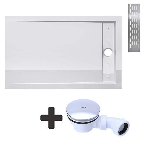 Sogood Duschtasse Duschwanne Xetro04W 90x120x4 flach inkl. Ablaufgarnitur aus Acryl in Weiß Rechteckig DIN-Anschlüsse für bodenebene Montage geeignet