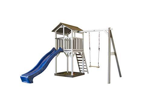 Spielturm Beach Tower Swing Holz mit Sandkasten, Einzelschaukel, Rutsche blau