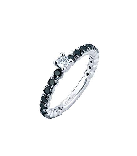 Gioielli di valenza anello fedina in oro bianco 18k con diamanti bianchi e neri - 14