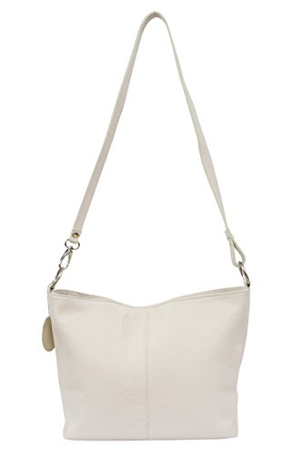 AMBRA Moda Damen Leder Handtasche Schultertasche Umhängetasche Hobo bag GL005 Beige
