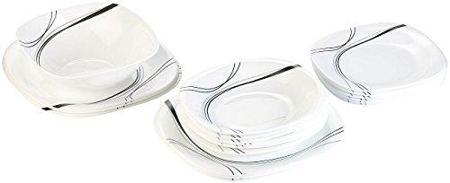 Rosenstein & Söhne Geschirrset: Opalglas-Tafelservice mit schwarzem Dekor,19-teilig (Opalglas Geschirr)