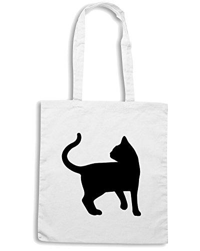T-Shirtshock - Borsa Shopping FUN0949 cat cats animal animals vinyl decal sticker 02 86241 Bianco