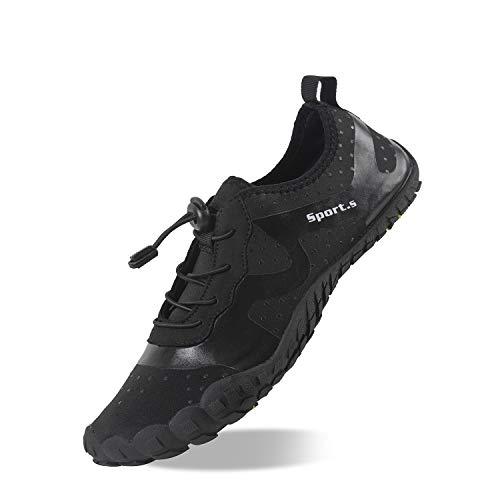 Herren Outdoor Fitnessschuhe Barfußschuhe Trekking Schuhe Badeschuhe Schnell Trocknend Rutschfest(Schwarz,44 EU)