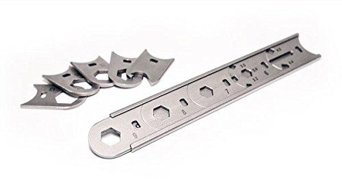 Mininch WRENCHit steckbarer Ringschlüssel/Schraubenschlüssel Satz Set 15 teilig, Größen 3,2 bis 13mm auch für Fahrradspeichen, Flügelmutter und Shimano® Speichen geeignet mit Tasche -