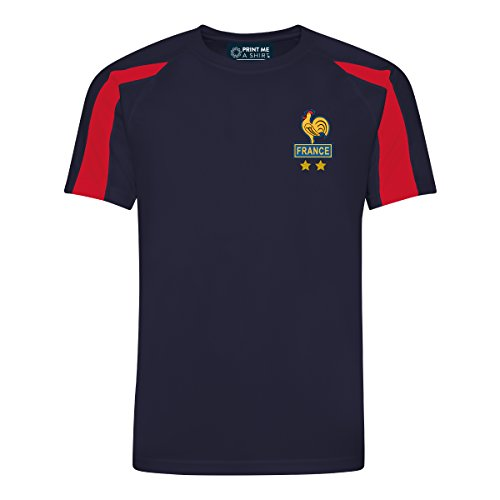Kids Customisable France Les Bleus Style Home Football kit Shirt and Shorts  Navy fire-red 9 11 Yrs