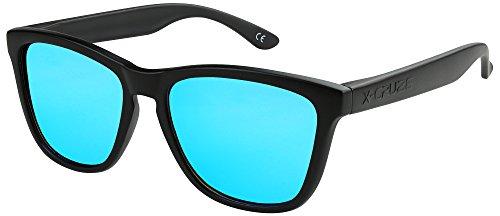 X-CRUZE® 9-007 X0 Nerd Sonnenbrillen polarisiert Style Stil Retro Vintage Retro Unisex Herren Damen Männer Frauen Brille Nerdbrille - schwarz matt/hellblau verspiegelt